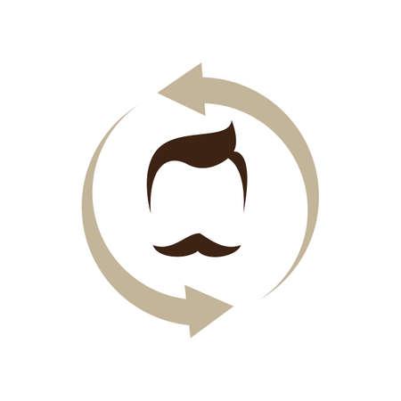 five stars barber shop logo design Vector vintage Badge Hairdresser Logo Иллюстрация