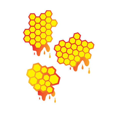 set of Honey droplets and honeycomb Logo Design vector sign symbol illustrations Çizim