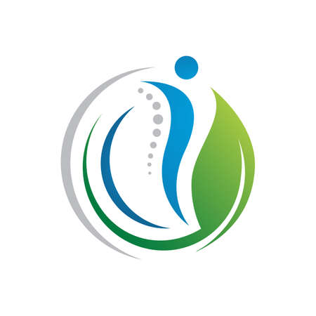 popular human health care physiotherapy chiropractic logo design vector concept