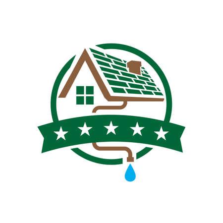 Hausdach Dachrinne Logo Design Vektor Abzeichen Emblem Vorlage Illustrationen