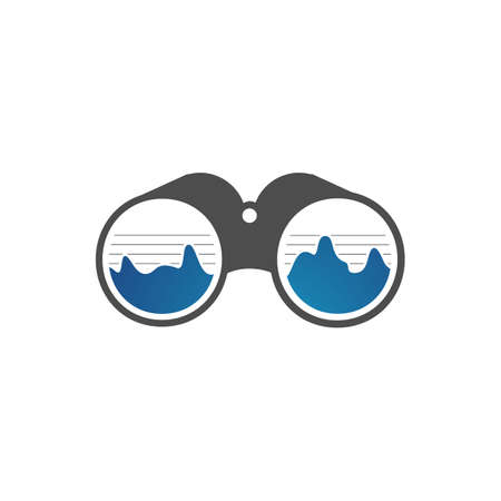 simple binoculars logo an outdoor adventure template vector illustration design