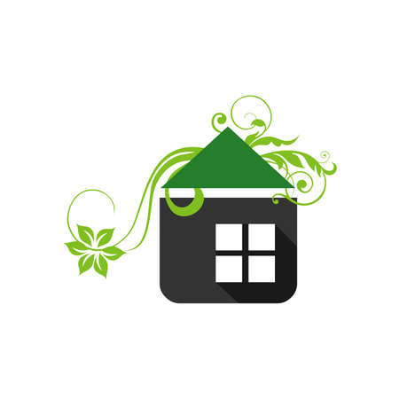 gardening home landscaping logo design vector lawn and house illustrations