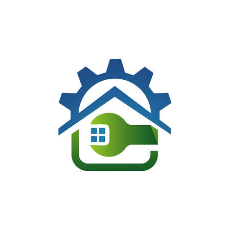 home repair logo renovation maintenance tools and house construction concept