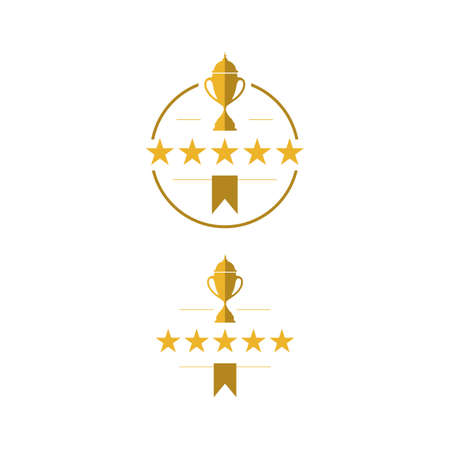 5 stars Trophy cup vector winner logo design icon in flat style Ilustração