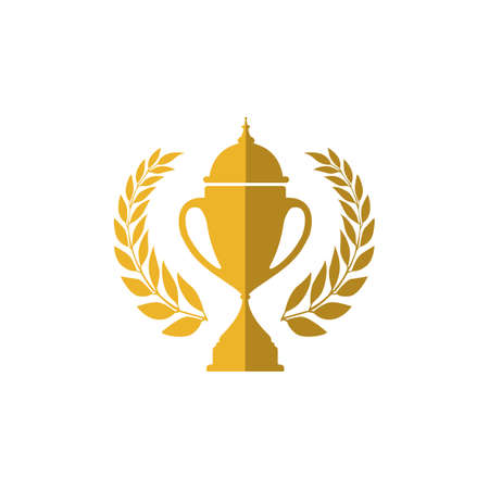 Trophy cup vector winner logo design icon in flat style Ilustração