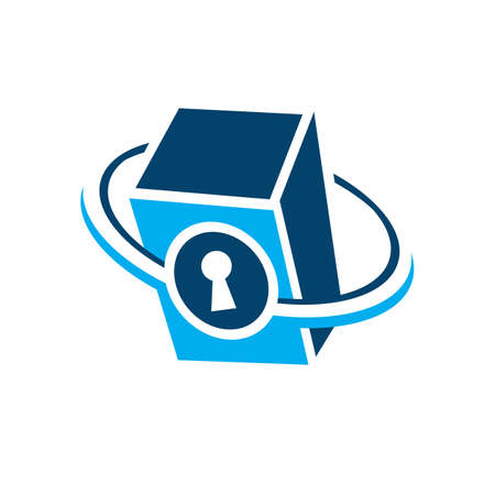 creative vault logo design vector safe deposit protection icon symbol Ilustração