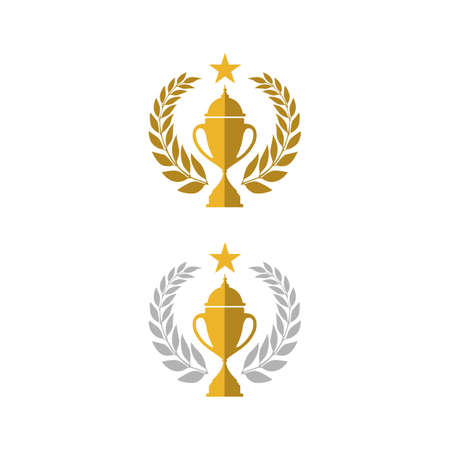 Trophy cup vector winner logo design icon in flat style Ilustrace