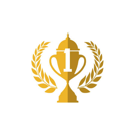 number 1 Trophy cup vector winner logo design icon in flat style