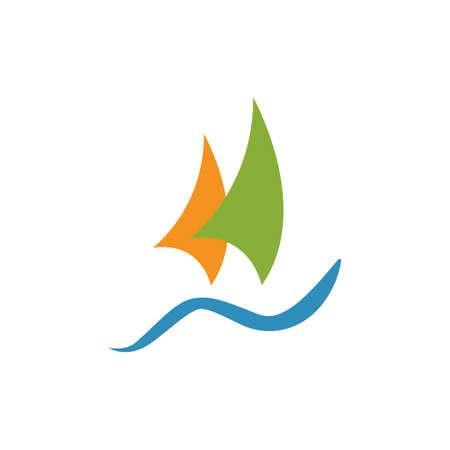 simple ship boat yacht sailing logo design vector illustrations