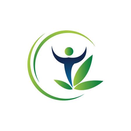 organic eco green people logo vector design concept