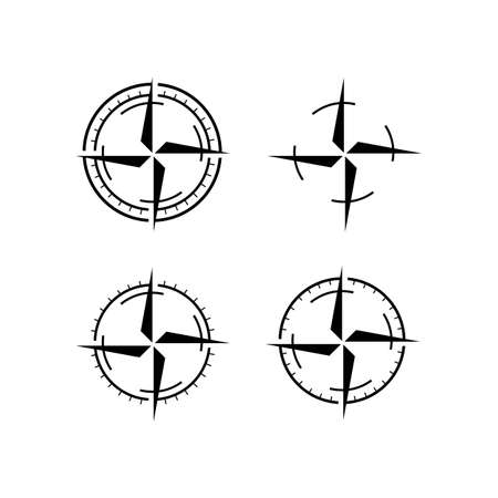 set of new simple compass logo design vector illustration inspiration  イラスト・ベクター素材