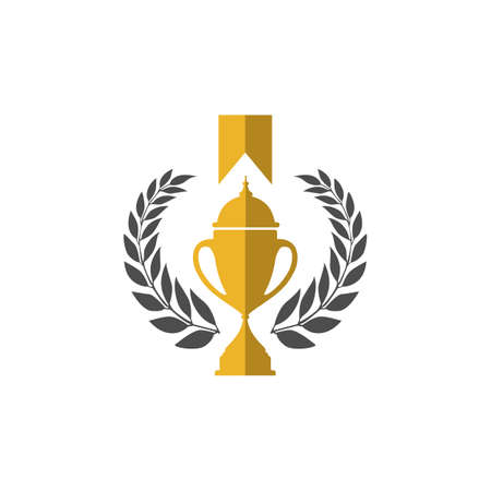 Trophy cup vector winner logo design icon in flat style  イラスト・ベクター素材