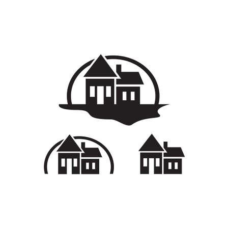 set of simple black home logo vector design concept