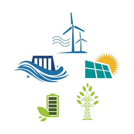 set of sign elements alternative renewable energy logo design vector illustrations