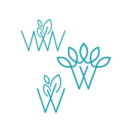 set of W initial letter with modern leaf monogram logo modern template  イラスト・ベクター素材