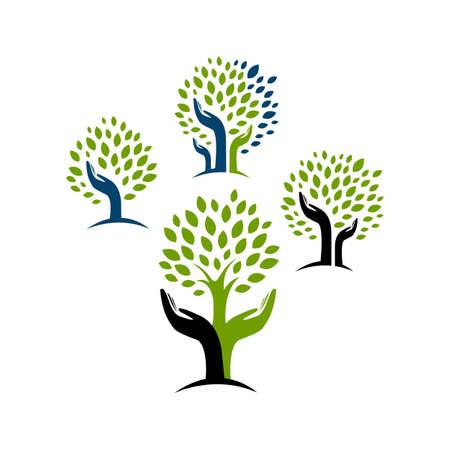 eco green hand tree logo vector design concept inspiration  イラスト・ベクター素材