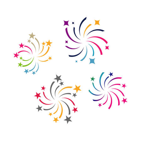 firework logo vector design colorful fireworks splash sparkling star logotype  イラスト・ベクター素材