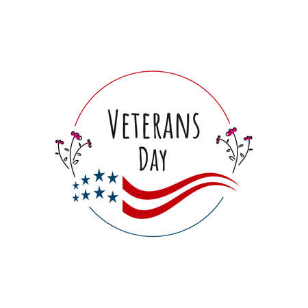 circle style veterans day lettering background design vector typography illustration