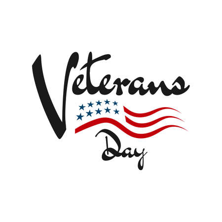 hand drawn greeting card veterans day lettering background design vector typography illustration