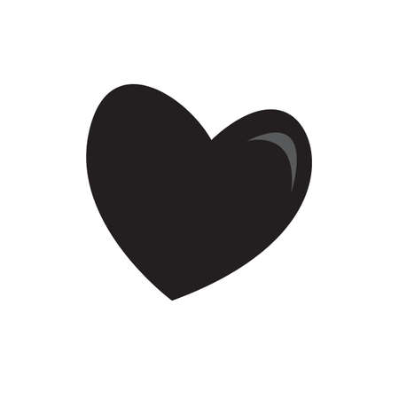 silhouette of black heart vector logo icon isolated on white background  イラスト・ベクター素材