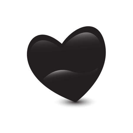 silhouette of black heart vector logo icon isolated on white background Ilustrace