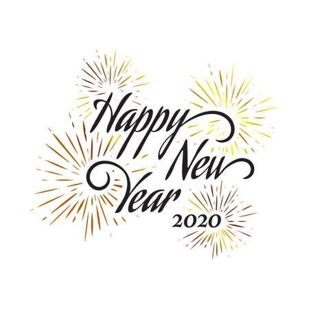 Happy New Year letter hand drawn calligraphy background.  january 1 holiday background with splashing fireworks for celebrating new year  moments Vector illustration EPS.8 EPS.10  イラスト・ベクター素材