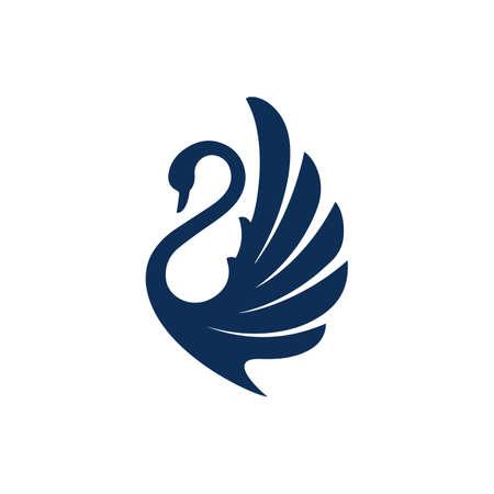 new luxury stylish spreading wings swan logo design vector logotype sign illustration  イラスト・ベクター素材