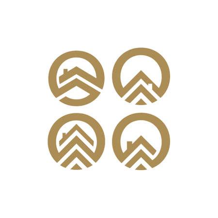 simple flat styles circle house icon logo Vector illustration design