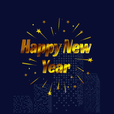 Happy New Year letter modern style background. january 1 holiday background with building and splashing fireworks for celebrating new year moments Vector illustration