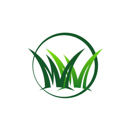 grass remover lawn mower logo design template vector illustration