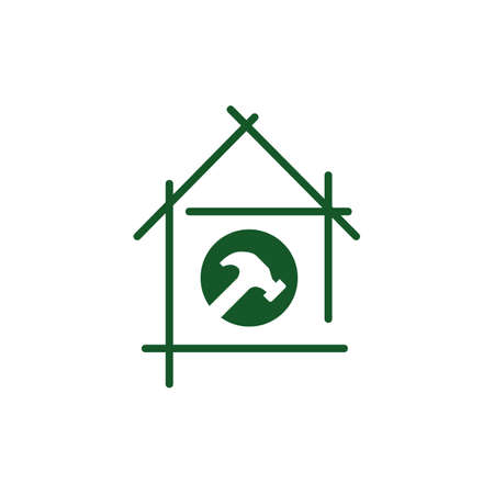 Home Repair Logo. Creative home and hammer tools for construction concept.