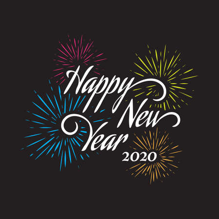 Happy New Year letter hand drawn calligraphy background.