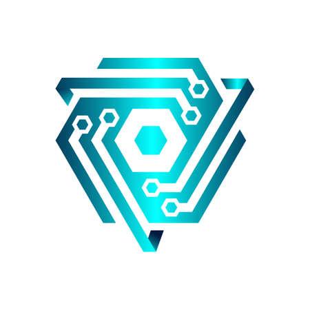 modern tech cyber security logo design vector illustration