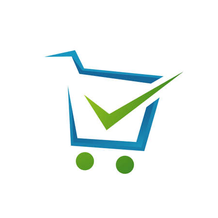 check mark and trolley for shopping cart logo icon  design shop symbol vector illustrations