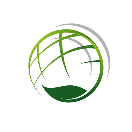 vegetarian vegan world logo vector icon with globe and leaf element