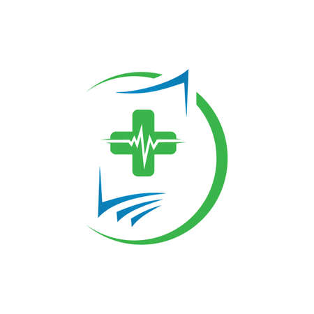 symbol of medical record logo icon design template vector illustration