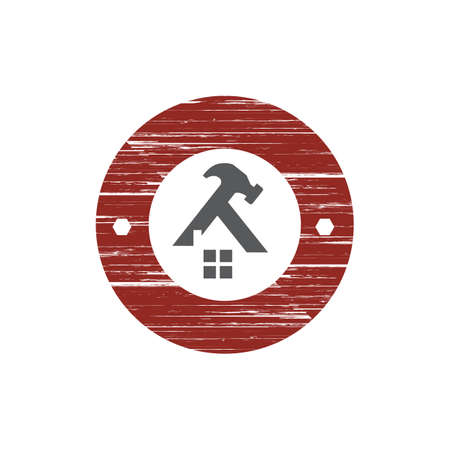 Home Repair Logo. Creative home and hammer tools for construction concept. vector illustration.