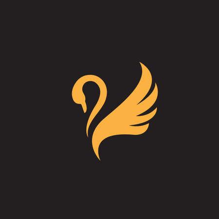 nouveau luxe élégant propagation ailes cygne logo design vector logotype signe illustration