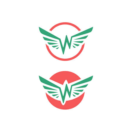 simple flat initial w letter wings logo Vector illustration design