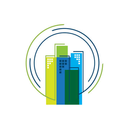 circle house Real estate Apartment flat line building logo Vector icon