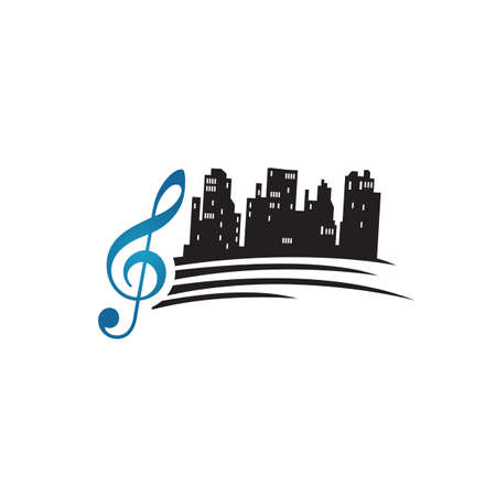 city of song logo design vector a beautiful music of skyscaper melody illustration