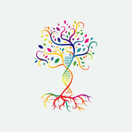 icono de vector de diseño de logotipo de árbol de adn de hélice. signo simple naturaleza icono de cadena de ADN