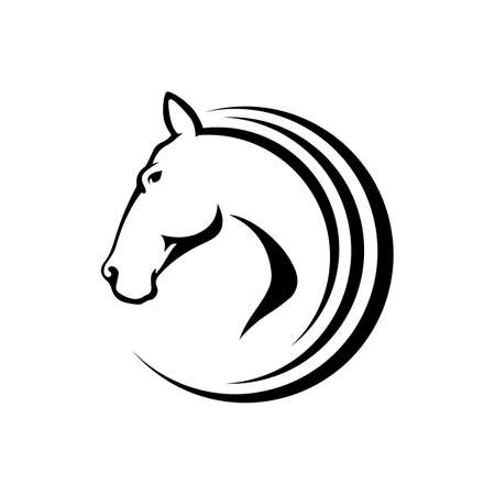 black stallion horse head logo vector symbol. the silhoutte of black horse illustration design Stock fotó - 136273311
