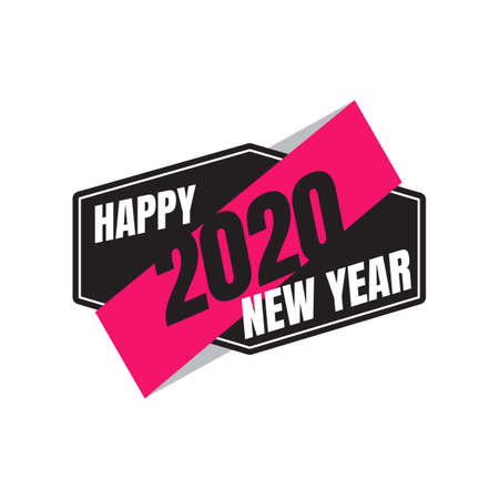 Happy New Year 2020 vintage emblem. Illustration of New Year Eve 2020. 