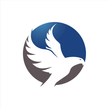 blue hawk falcon eagle vector Logo design icon illustration Template