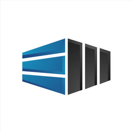 creative building cladding logo design vector illustration Stock Illustratie