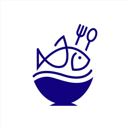 fish on top of rice bowl logo vector for oriental restaurant and food delivery design Banque d'images - 137435580