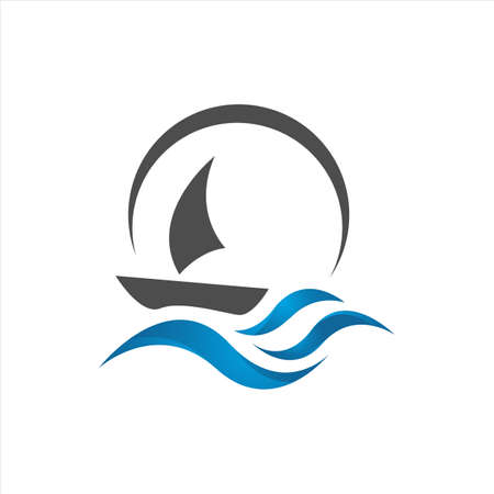 sailing yacht on the water wave template concept ship boat logo design vector