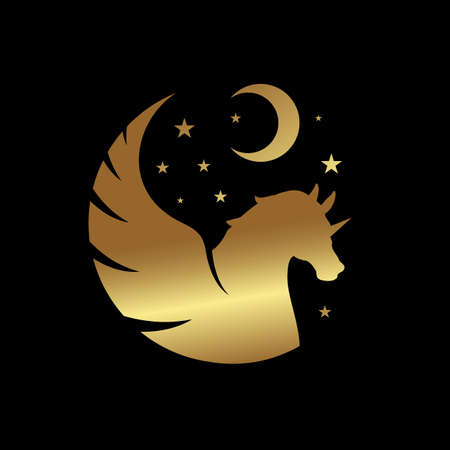 Horse with wings Powerfull pegasus unicorn flying vector logo vector graphic concept Logo