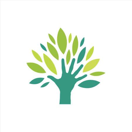 eco verde mano logo vector diseño personas que protegen la naturaleza concepto inspiración
